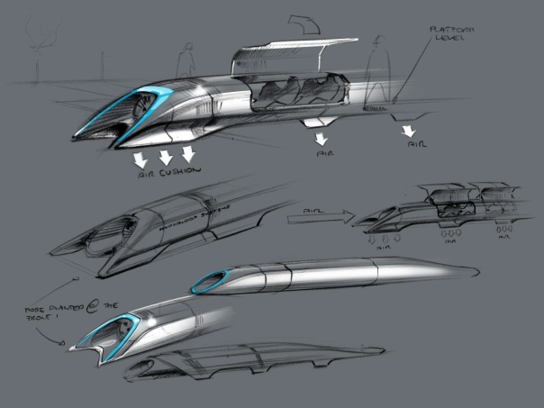sketch of Elon Musk's alpha design of the Hyperloop