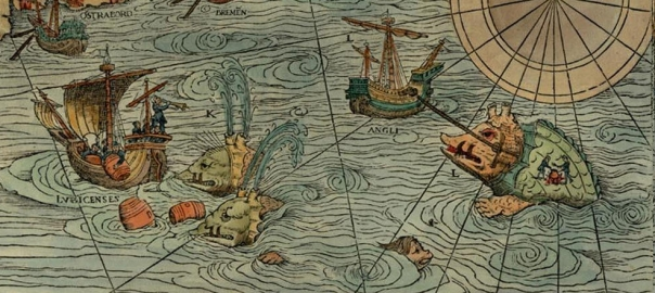 Portion of the 16th century Carta Marina showing two sea monsters.