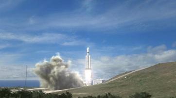 liftoff of a Falcon Heavy Rocket